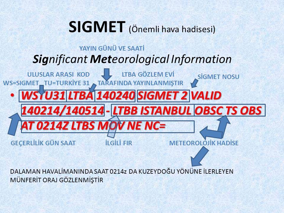 SIGMET (Önemli hava hadisesi) Significant Meteorological Information WSTU31 LTBA 140240 SIGMET 2 VALID 140214/140514 - LTBB ISTANBUL OBSC TS OBS AT 0214Z LTBS MOV NE NC= WSTU31 LTBA 140240 SIGMET 2 VALID 140214/140514 - LTBB ISTANBUL OBSC TS OBS AT 0214Z LTBS MOV NE NC= ULUSLAR ARASI KOD WS=SIGMET TU=TURKİYE 31 LTBA GÖZLEM EVİ TARAFINDA YAYINLANMIŞTIR YAYIN GÜNÜ VE SAATİ SİGMET NOSU GEÇERLİLİK GÜN SAAT İLGİLİ FIR METEOROLOJİK HADİSE DALAMAN HAVALİMANINDA SAAT 0214z DA KUZEYDOĞU YÖNÜNE İLERLEYEN MÜNFERİT ORAJ GÖZLENMİŞTİR