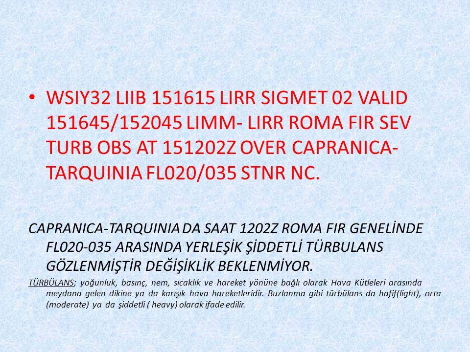 WSIY32 LIIB 151615 LIRR SIGMET 02 VALID 151645/152045 LIMM- LIRR ROMA FIR SEV TURB OBS AT 151202Z OVER CAPRANICA- TARQUINIA FL020/035 STNR NC. CAPRANI
