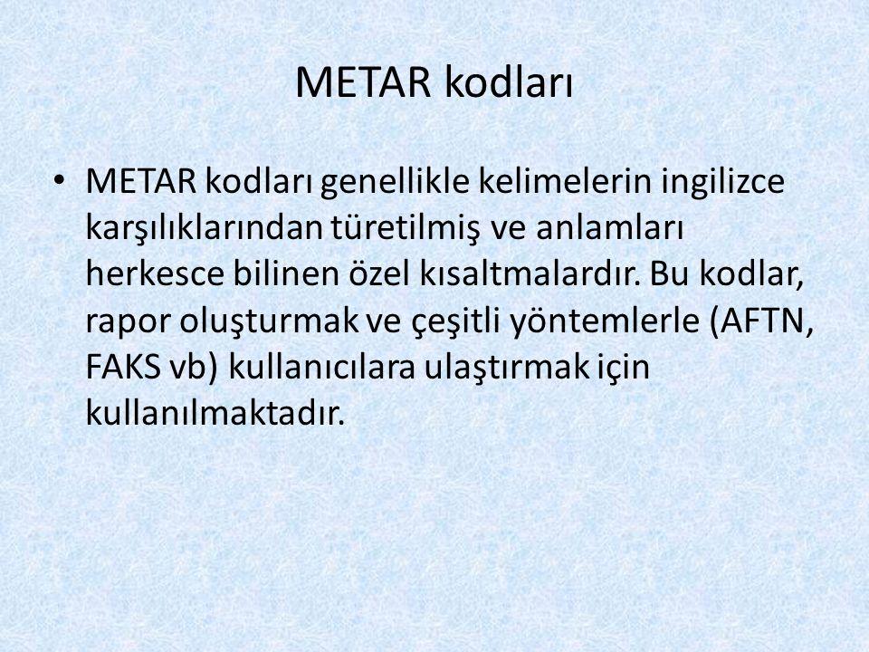 METAR kodları METAR kodları genellikle kelimelerin ingilizce karşılıklarından türetilmiş ve anlamları herkesce bilinen özel kısaltmalardır. Bu kodlar,