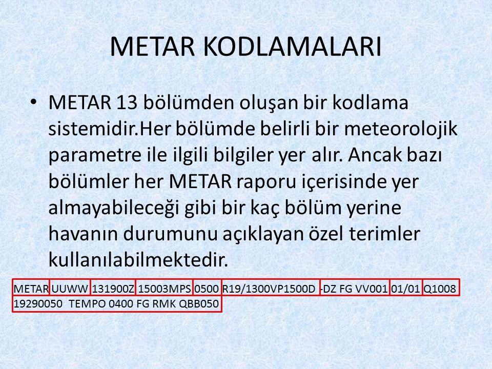 METAR KODLAMALARI METAR 13 bölümden oluşan bir kodlama sistemidir.Her bölümde belirli bir meteorolojik parametre ile ilgili bilgiler yer alır. Ancak b