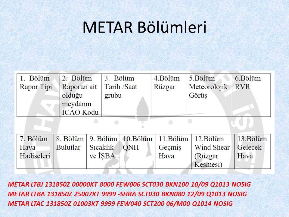 METAR Bölümleri METAR LTBJ 131850Z 00000KT 8000 FEW006 SCT030 BKN100 10/09 Q1013 NOSIG METAR LTBA 131850Z 25007KT 9999 -SHRA SCT030 BKN080 12/09 Q1013