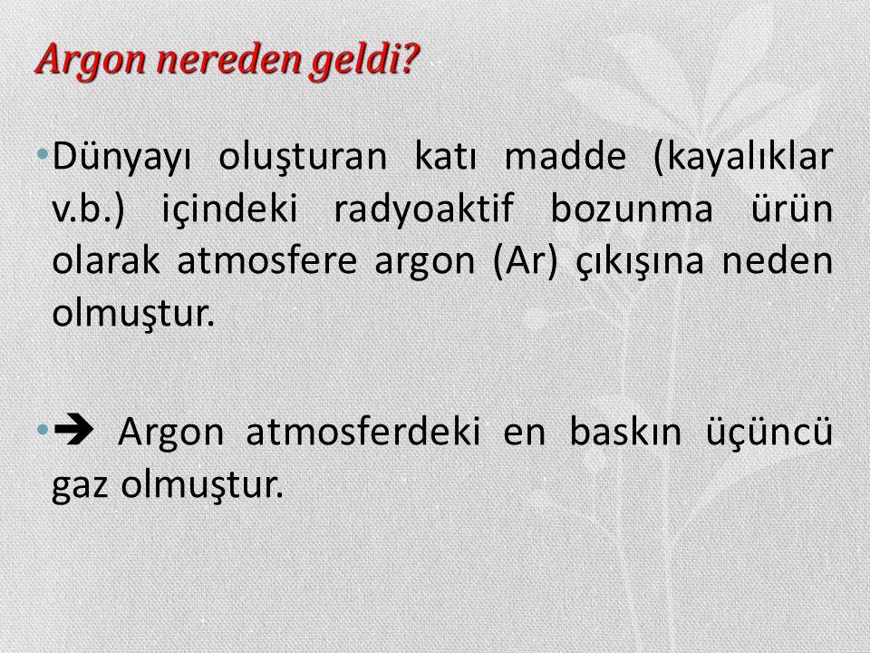 Argon nereden geldi? Dünyayı oluşturan katı madde (kayalıklar v.b.) içindeki radyoaktif bozunma ürün olarak atmosfere argon (Ar) çıkışına neden olmuşt