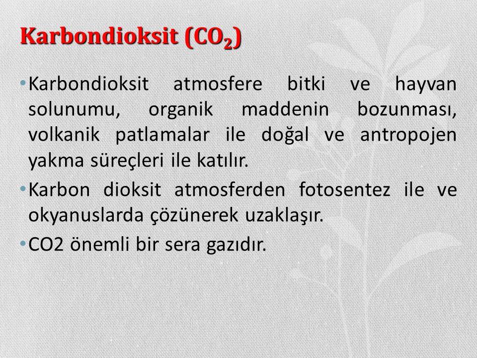 Karbondioksit (CO 2 ) Karbondioksit atmosfere bitki ve hayvan solunumu, organik maddenin bozunması, volkanik patlamalar ile doğal ve antropojen yakma
