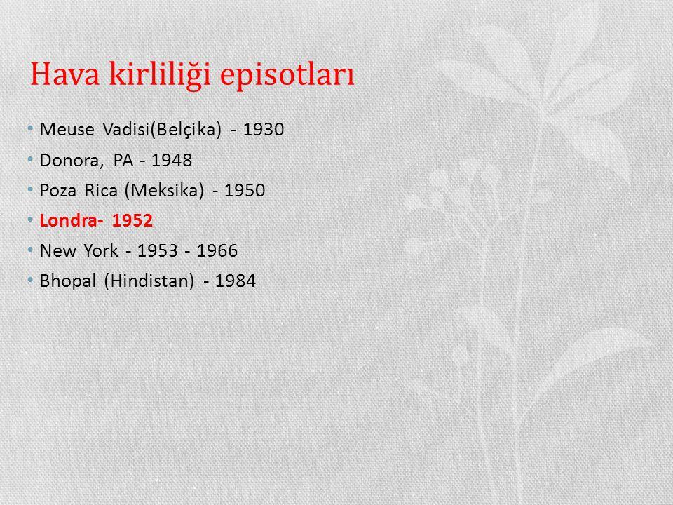 Hava kirliliği episotları Meuse Vadisi(Belçika) - 1930 Donora, PA - 1948 Poza Rica (Meksika) - 1950 Londra- 1952 New York - 1953 - 1966 Bhopal (Hindis