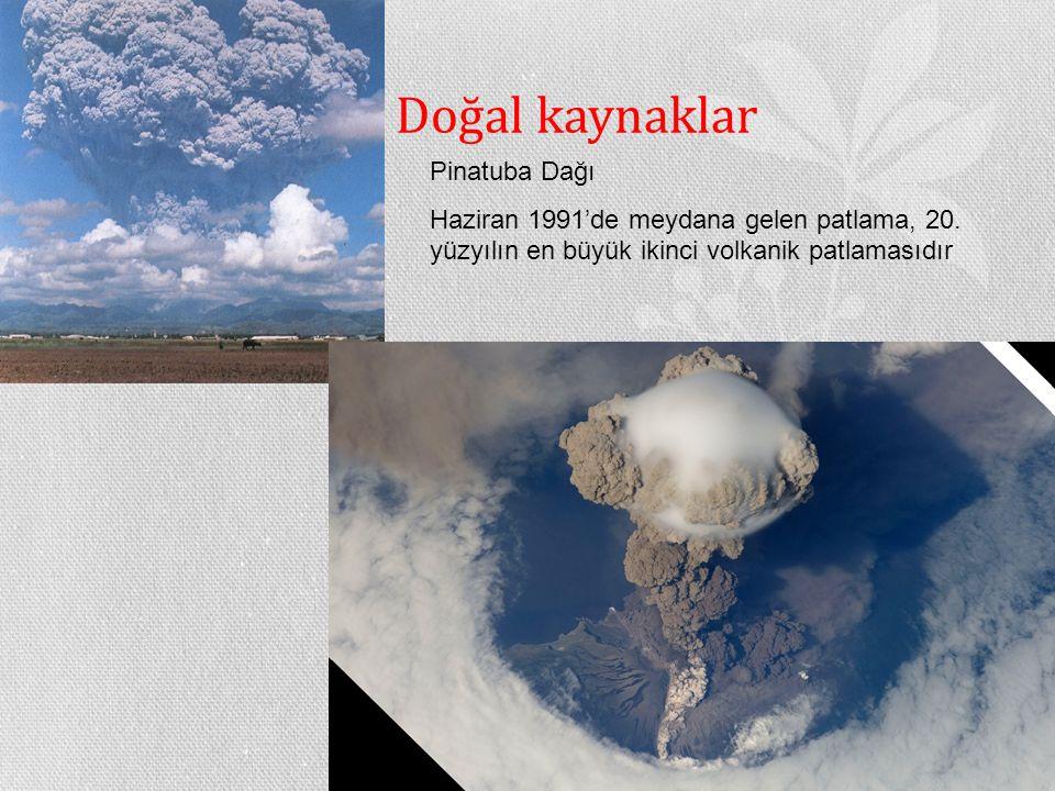 Doğal kaynaklar Pinatuba Dağı Haziran 1991'de meydana gelen patlama, 20. yüzyılın en büyük ikinci volkanik patlamasıdır