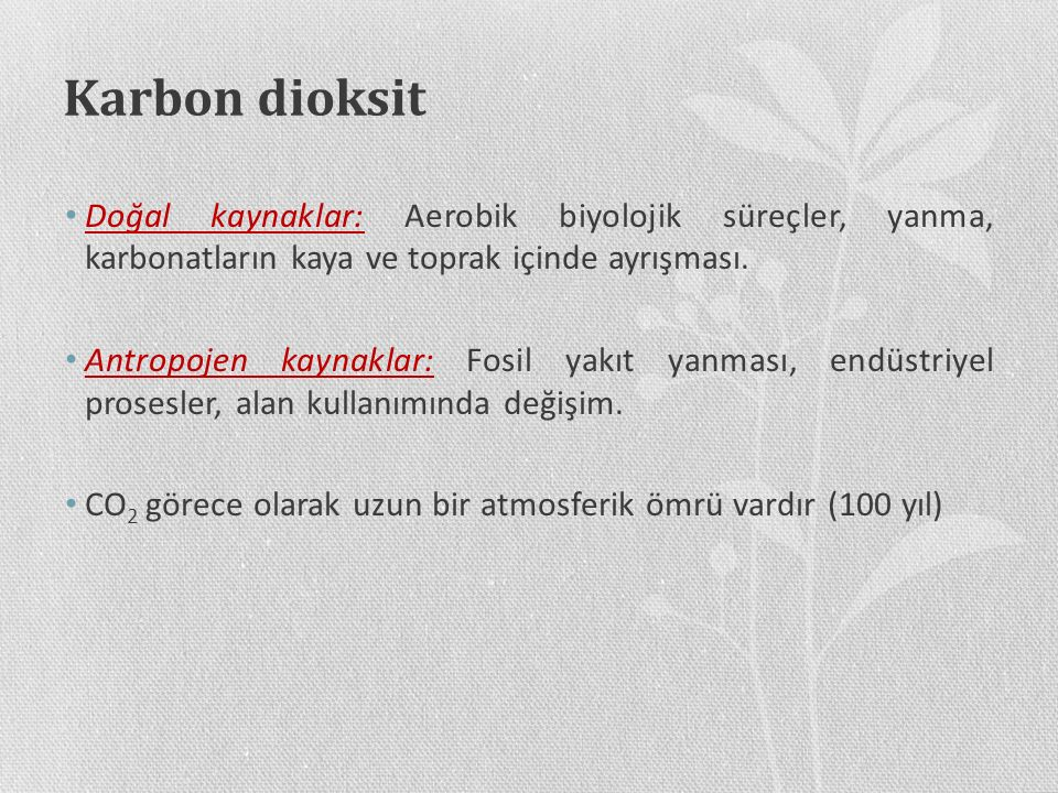 Karbon dioksit Doğal kaynaklar: Aerobik biyolojik süreçler, yanma, karbonatların kaya ve toprak içinde ayrışması. Antropojen kaynaklar: Fosil yakıt ya