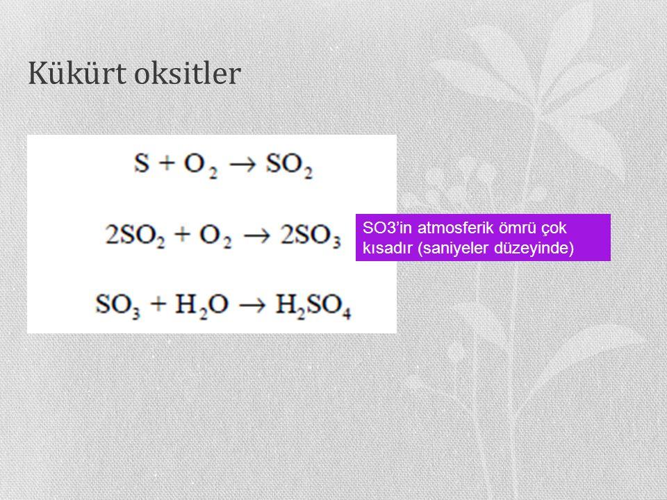 Kükürt oksitler SO3'in atmosferik ömrü çok kısadır (saniyeler düzeyinde)