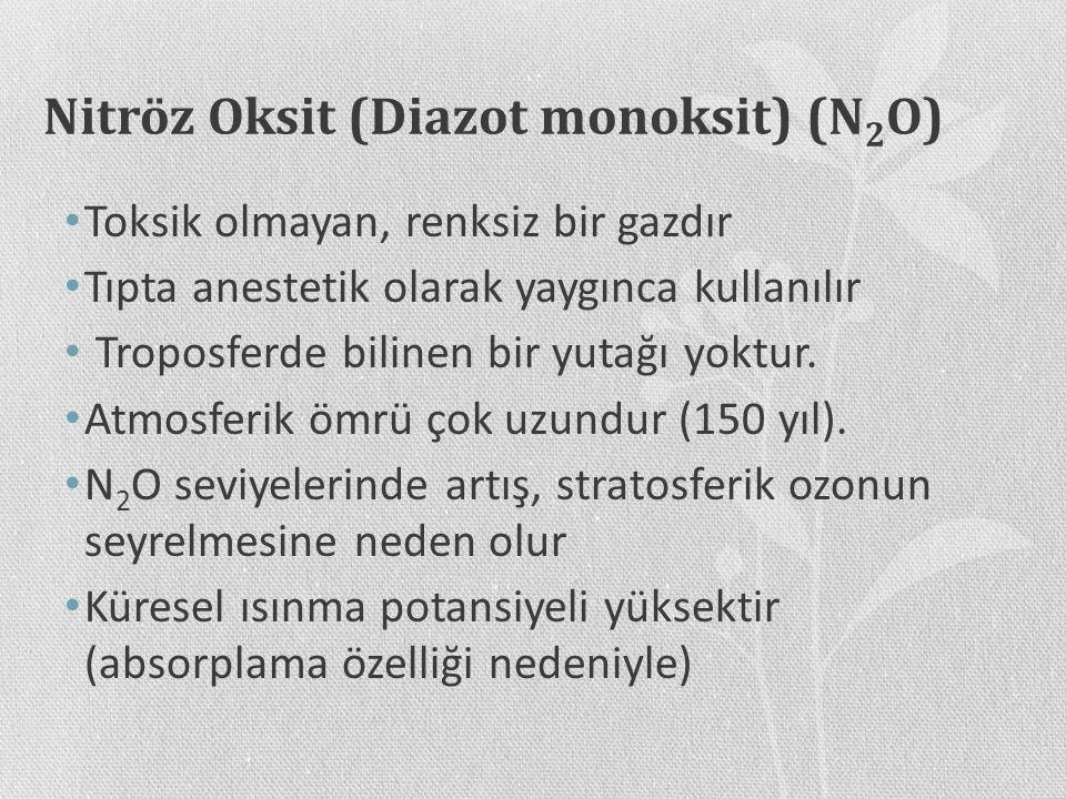 Nitröz Oksit (Diazot monoksit) (N 2 O) Toksik olmayan, renksiz bir gazdır Tıpta anestetik olarak yaygınca kullanılır Troposferde bilinen bir yutağı yo