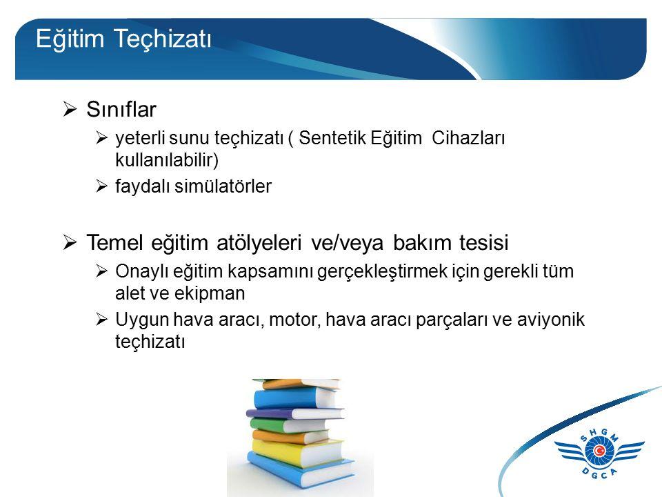 Eğitim Teçhizatı  Sınıflar  yeterli sunu teçhizatı ( Sentetik Eğitim Cihazları kullanılabilir)  faydalı simülatörler  Temel eğitim atölyeleri ve/v