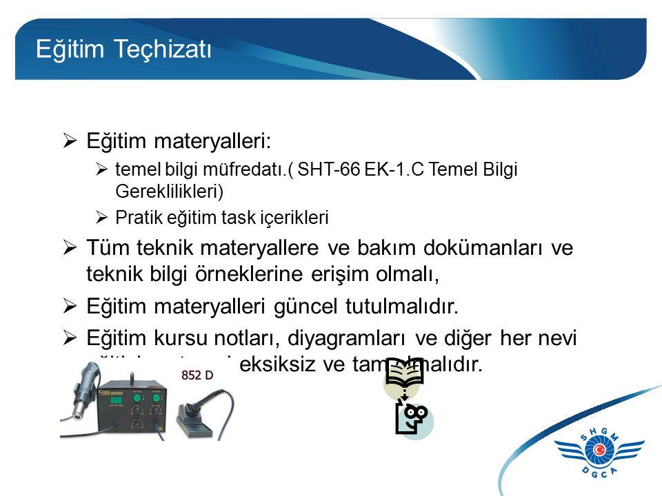 Eğitim Teçhizatı  Eğitim materyalleri:  temel bilgi müfredatı.( SHT-66 EK-1.C Temel Bilgi Gereklilikleri)  Pratik eğitim task içerikleri  Tüm tekn