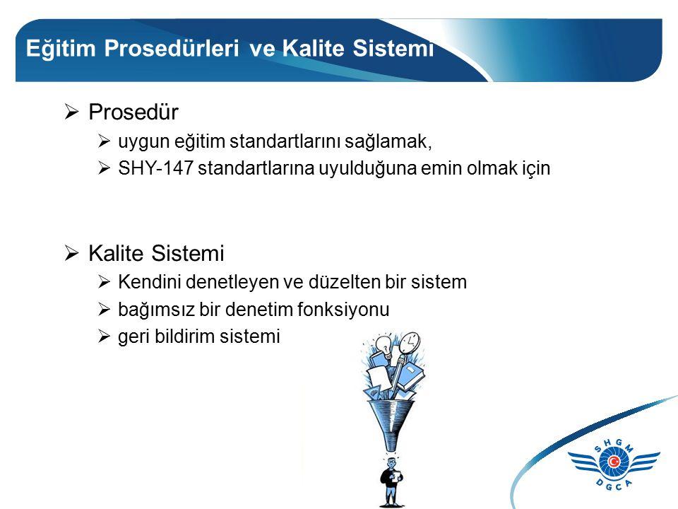Eğitim Prosedürleri ve Kalite Sistemi  Prosedür  uygun eğitim standartlarını sağlamak,  SHY-147 standartlarına uyulduğuna emin olmak için  Kalite