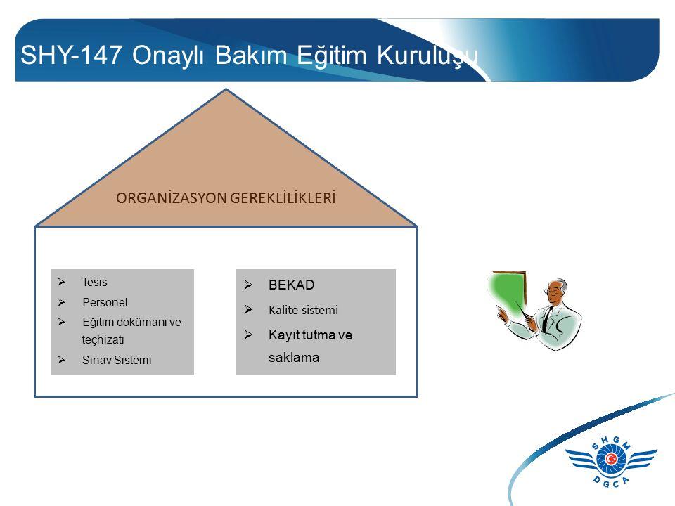SHY-147 Onaylı Bakım Eğitim Kuruluşu  Tesis  Personel  Eğitim dokümanı ve teçhizatı  Sınav Sistemi  BEKAD  Kalite sistemi  Kayıt tutma ve sakla