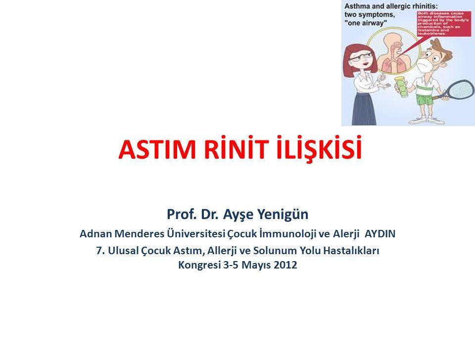 ASTIM RİNİT İLİŞKİSİ Prof. Dr. Ayşe Yenigün Adnan Menderes Üniversitesi Çocuk İmmunoloji ve Alerji AYDIN 7. Ulusal Çocuk Astım, Allerji ve Solunum Yol