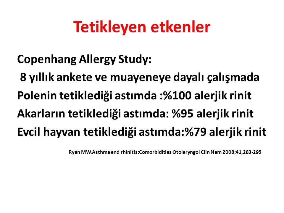 Tetikleyen etkenler Copenhang Allergy Study: 8 yıllık ankete ve muayeneye dayalı çalışmada Polenin tetiklediği astımda :%100 alerjik rinit Akarların tetiklediği astımda: %95 alerjik rinit Evcil hayvan tetiklediği astımda:%79 alerjik rinit Ryan MW.Asthma and rhinitis:Comorbidities Otolaryngol Clin Nam 2008;41,283-295