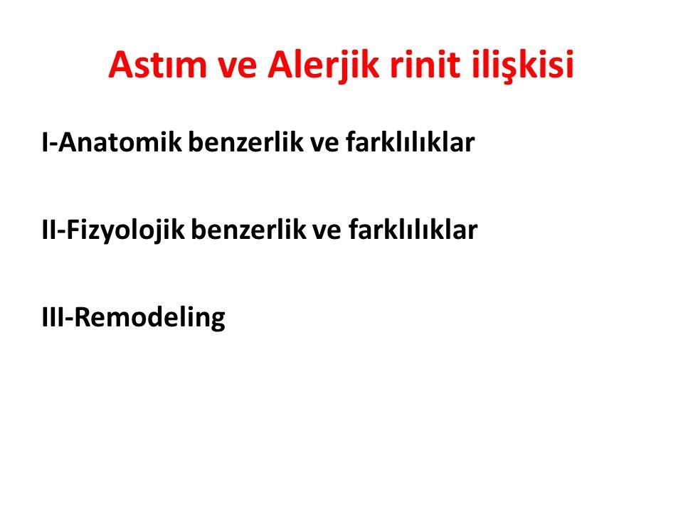 Astım ve Alerjik rinit ilişkisi I-Anatomik benzerlik ve farklılıklar II-Fizyolojik benzerlik ve farklılıklar III-Remodeling