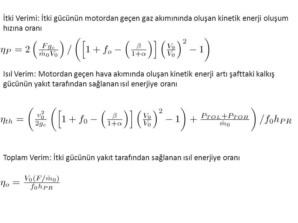Toplam Verim: İtki gücünün yakıt tarafından sağlanan ısıl enerjiye oranı İtki Verimi: İtki gücünün motordan geçen gaz akımınında oluşan kinetik enerji oluşum hızına oranı Isıl Verim: Motordan geçen hava akımında oluşan kinetik enerji artı şafttaki kalkış gücünün yakıt tarafından sağlanan ısıl enerjiye oranı
