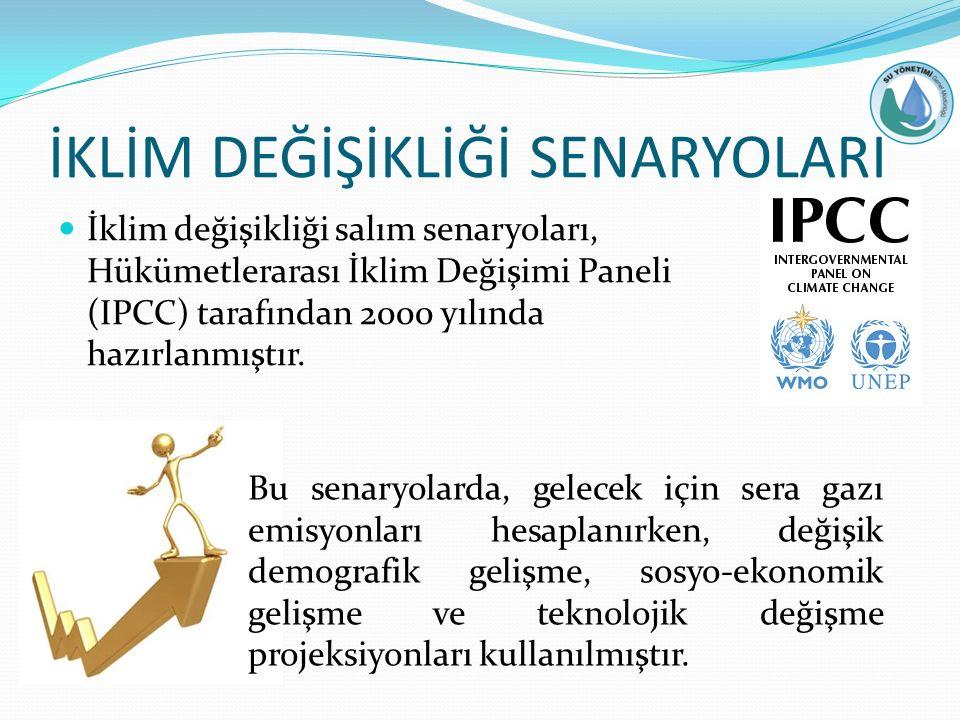 İKLİM DEĞİŞİKLİĞİ SENARYOLARI İklim değişikliği salım senaryoları, Hükümetlerarası İklim Değişimi Paneli (IPCC) tarafından 2000 yılında hazırlanmıştır.
