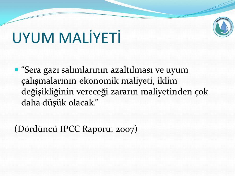 UYUM MALİYETİ Sera gazı salımlarının azaltılması ve uyum çalışmalarının ekonomik maliyeti, iklim değişikliğinin vereceği zararın maliyetinden çok daha düşük olacak. (Dördüncü IPCC Raporu, 2007)