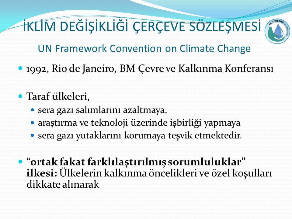 İKLİM DEĞİŞİKLİĞİ ÇERÇEVE SÖZLEŞMESİ UN Framework Convention on Climate Change 1992, Rio de Janeiro, BM Çevre ve Kalkınma Konferansı Taraf ülkeleri, sera gazı salımlarını azaltmaya, araştırma ve teknoloji üzerinde işbirliği yapmaya sera gazı yutaklarını korumaya teşvik etmektedir.