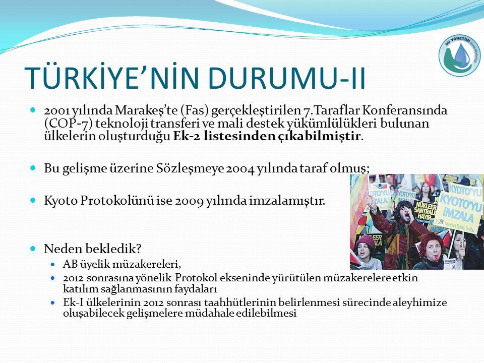 TÜRKİYE'NİN DURUMU-II 2001 yılında Marakeş'te (Fas) gerçekleştirilen 7.Taraflar Konferansında (COP-7) teknoloji transferi ve mali destek yükümlülükleri bulunan ülkelerin oluşturduğu Ek-2 listesinden çıkabilmiştir.