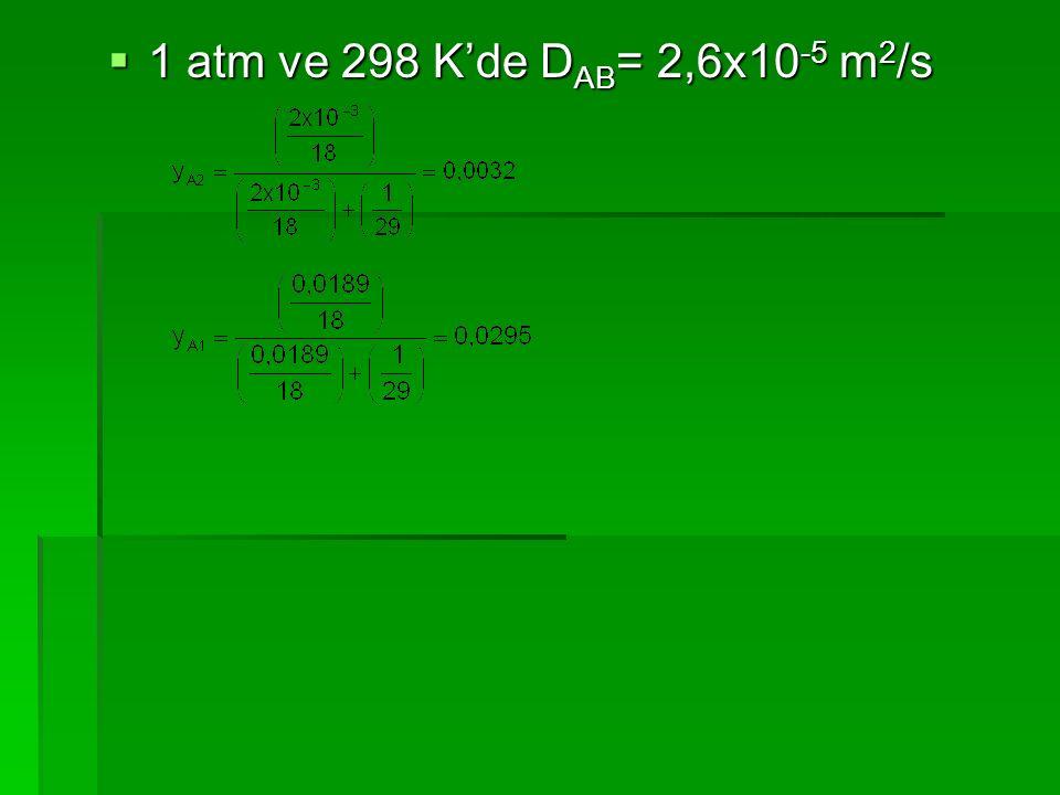  1 atm ve 298 K'de D AB = 2,6x10 -5 m 2 /s