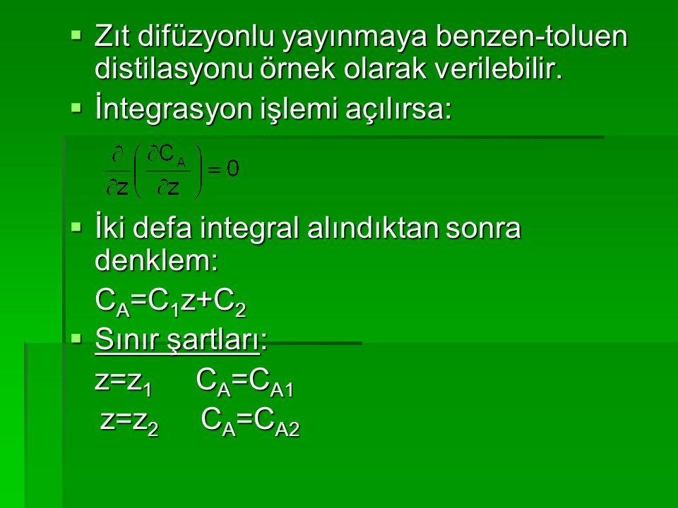  Zıt difüzyonlu yayınmaya benzen-toluen distilasyonu örnek olarak verilebilir.  İntegrasyon işlemi açılırsa:  İki defa integral alındıktan sonra de