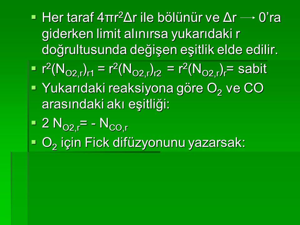  Her taraf 4πr 2 Δr ile bölünür ve Δr 0'ra giderken limit alınırsa yukarıdaki r doğrultusunda değişen eşitlik elde edilir.  r 2 (N O2,r ) r1 = r 2 (