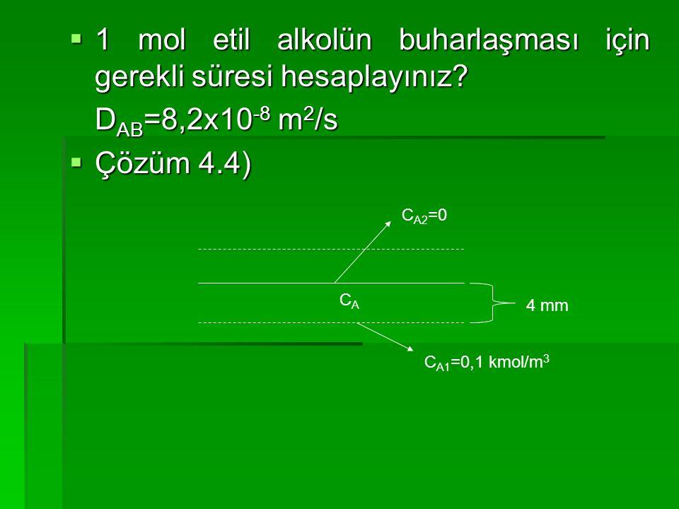  1 mol etil alkolün buharlaşması için gerekli süresi hesaplayınız? D AB =8,2x10 -8 m 2 /s  Çözüm 4.4) 4 mm C A2 =0 CACA C A1 =0,1 kmol/m 3