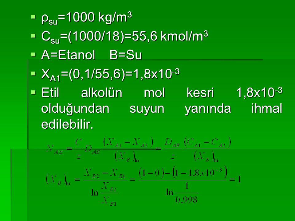  ρ su =1000 kg/m 3  C su =(1000/18)=55,6 kmol/m 3  A=Etanol B=Su  X A1 =(0,1/55,6)=1,8x10 -3  Etil alkolün mol kesri 1,8x10 -3 olduğundan suyun y