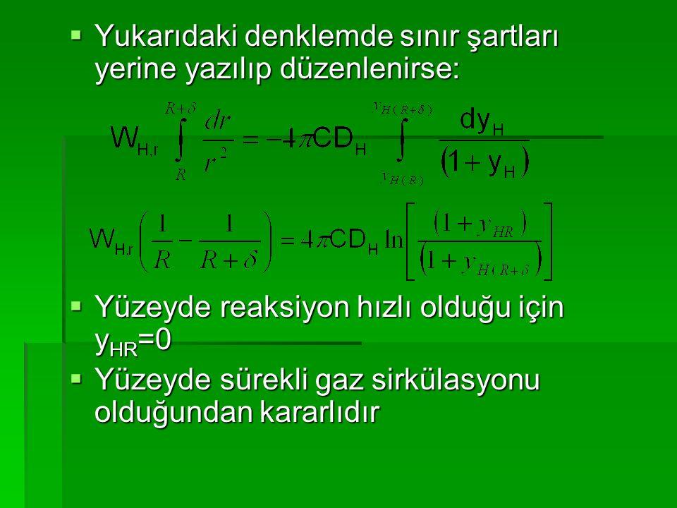  Yukarıdaki denklemde sınır şartları yerine yazılıp düzenlenirse:  Yüzeyde reaksiyon hızlı olduğu için y HR =0  Yüzeyde sürekli gaz sirkülasyonu ol