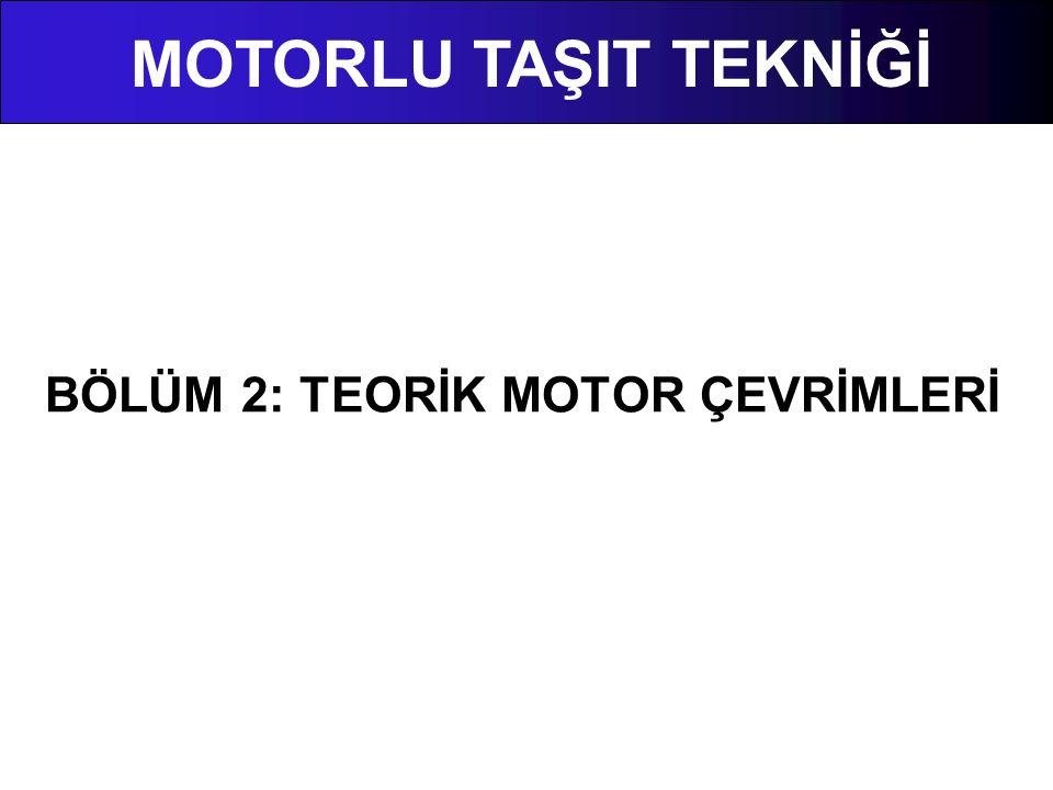 2.3 Teorik Motor Çevrimleri Teorik çevrimlerde yapılan kabuller aşağıdaki gibi sıralanabilir.