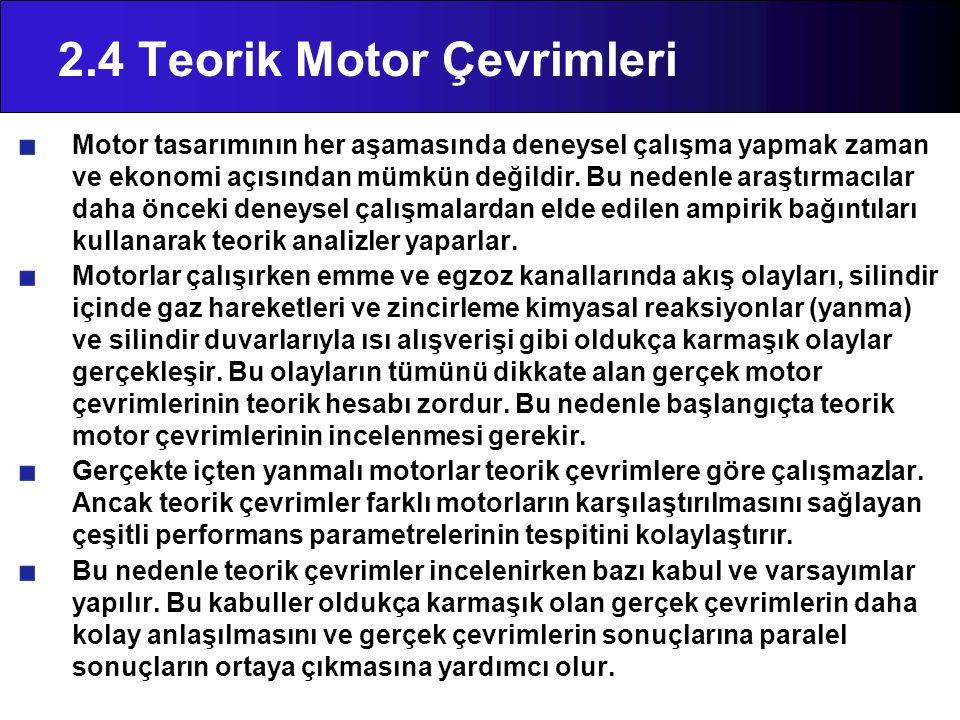 2.4 Teorik Motor Çevrimleri Motor tasarımının her aşamasında deneysel çalışma yapmak zaman ve ekonomi açısından mümkün değildir. Bu nedenle araştırmac