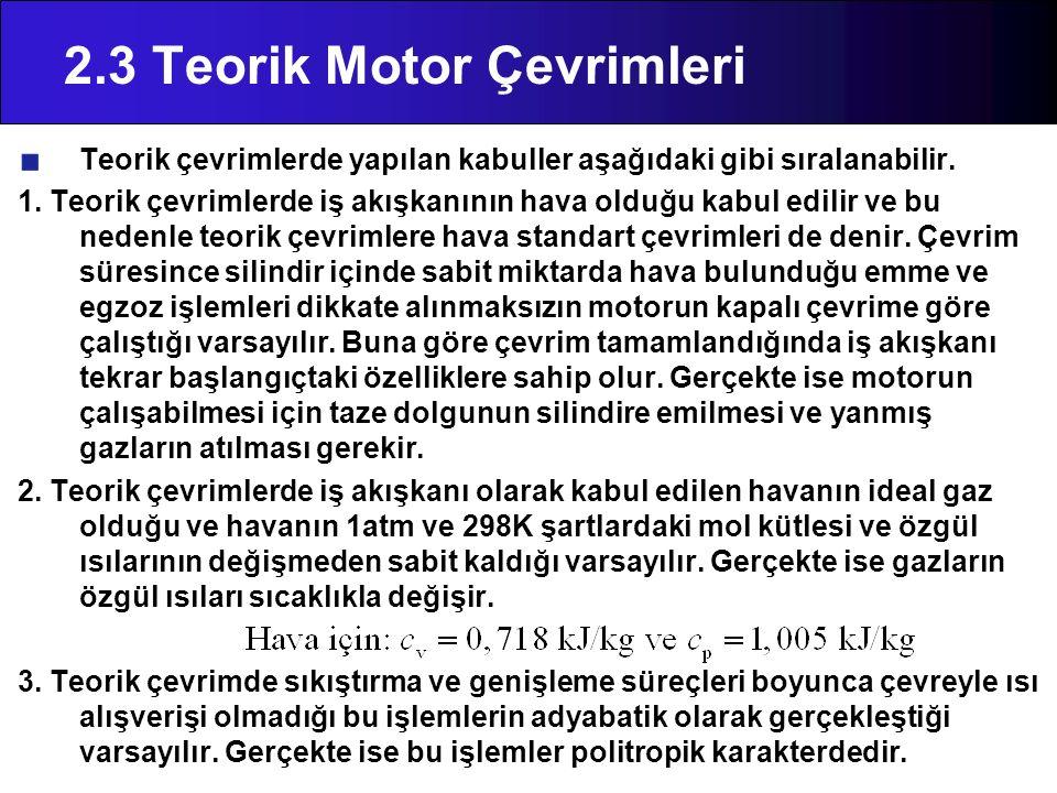 2.3 Teorik Motor Çevrimleri Teorik çevrimlerde yapılan kabuller aşağıdaki gibi sıralanabilir. 1. Teorik çevrimlerde iş akışkanının hava olduğu kabul e