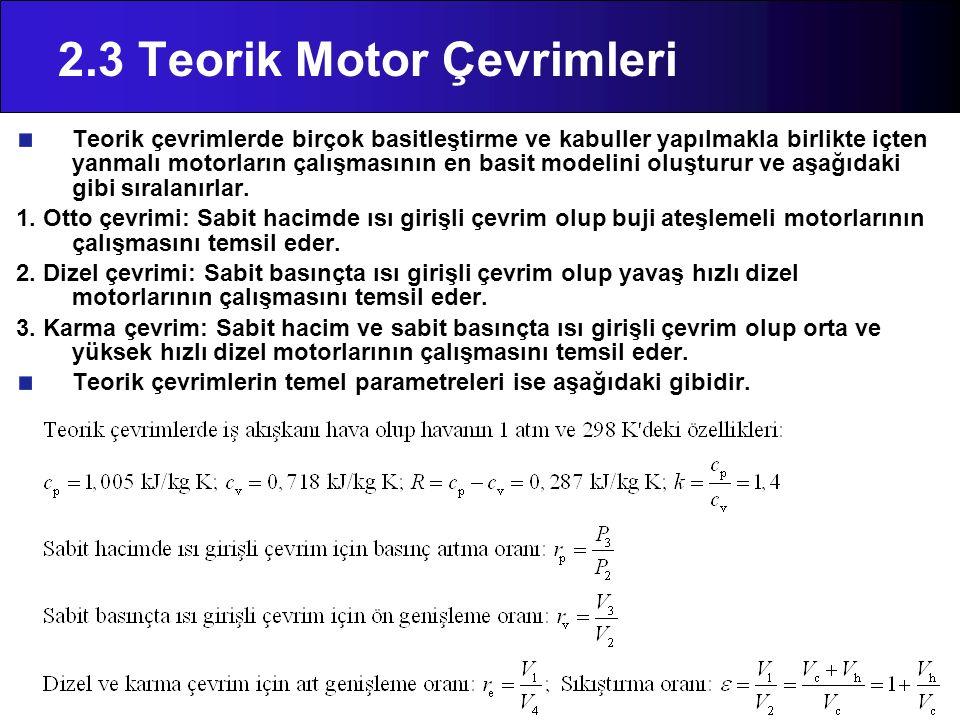 2.3 Teorik Motor Çevrimleri Teorik çevrimlerde birçok basitleştirme ve kabuller yapılmakla birlikte içten yanmalı motorların çalışmasının en basit mod