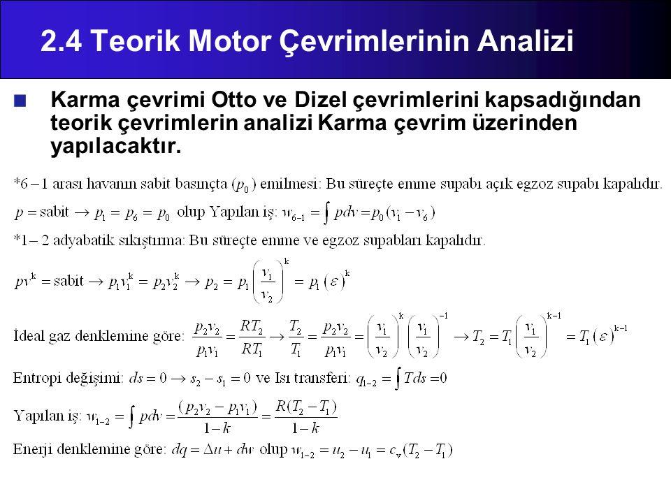 2.4 Teorik Motor Çevrimlerinin Analizi Karma çevrimi Otto ve Dizel çevrimlerini kapsadığından teorik çevrimlerin analizi Karma çevrim üzerinden yapıla