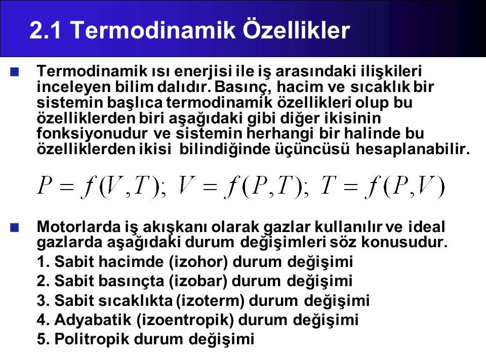 2.1 Termodinamik Özellikler Termodinamik ısı enerjisi ile iş arasındaki ilişkileri inceleyen bilim dalıdır. Basınç, hacim ve sıcaklık bir sistemin baş