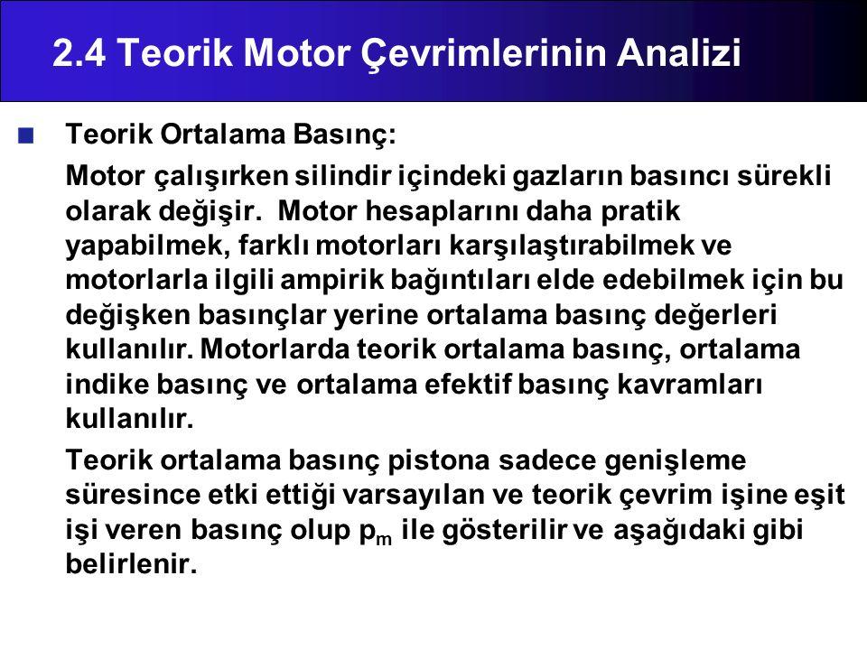 Teorik Ortalama Basınç: Motor çalışırken silindir içindeki gazların basıncı sürekli olarak değişir. Motor hesaplarını daha pratik yapabilmek, farklı m