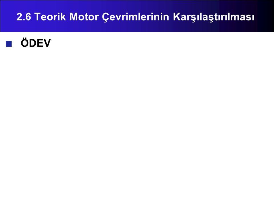 ÖDEV 2.6 Teorik Motor Çevrimlerinin Karşılaştırılması