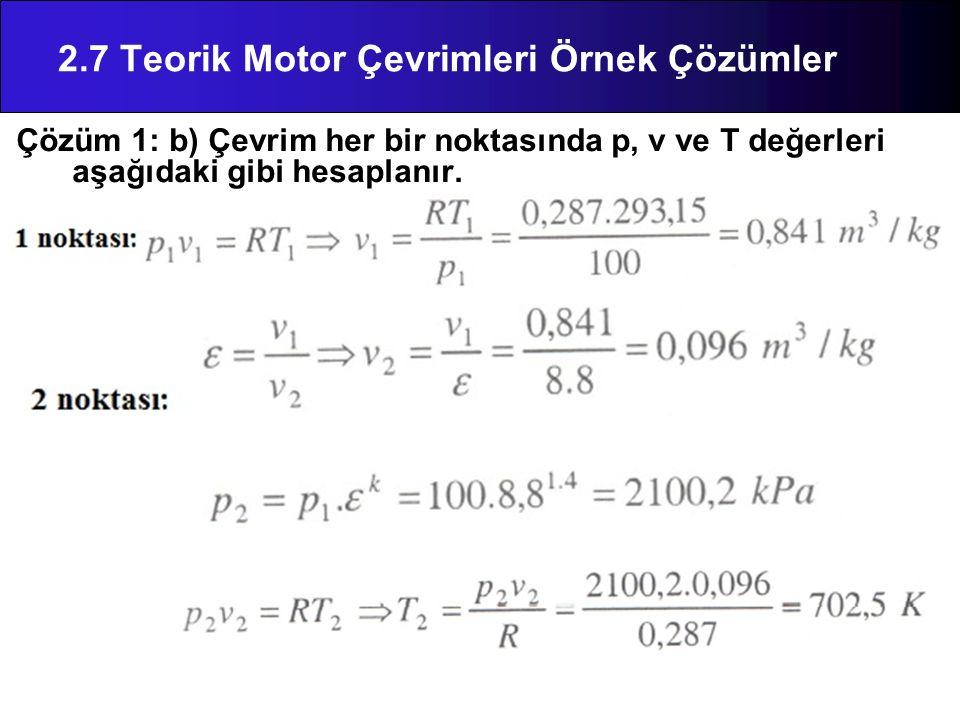 Çözüm 1: b) Çevrim her bir noktasında p, v ve T değerleri aşağıdaki gibi hesaplanır. 2.7 Teorik Motor Çevrimleri Örnek Çözümler
