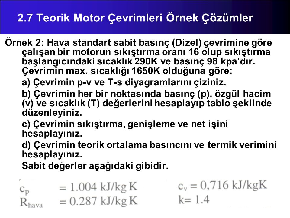 Örnek 2: Hava standart sabit basınç (Dizel) çevrimine göre çalışan bir motorun sıkıştırma oranı 16 olup sıkıştırma başlangıcındaki sıcaklık 290K ve ba
