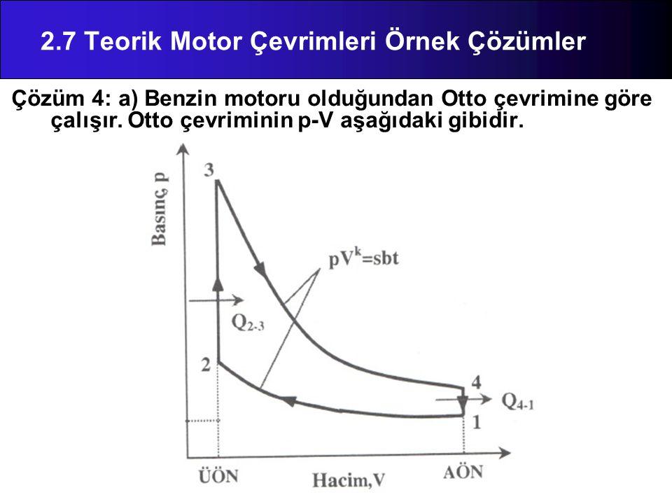 Çözüm 4: a) Benzin motoru olduğundan Otto çevrimine göre çalışır. Otto çevriminin p-V aşağıdaki gibidir. 2.7 Teorik Motor Çevrimleri Örnek Çözümler