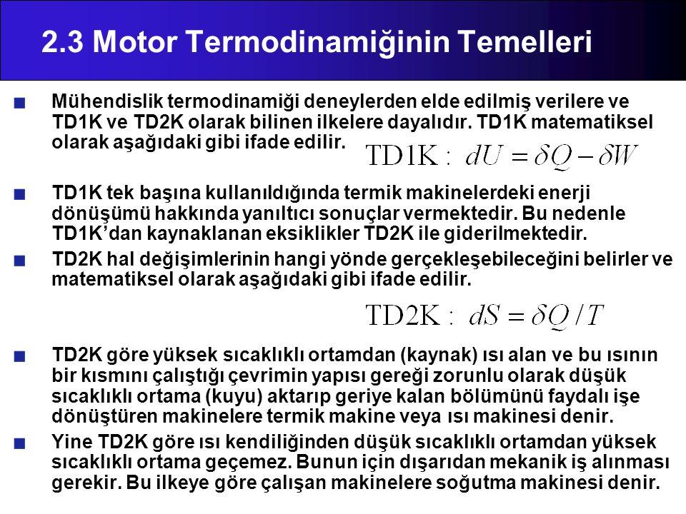2.3 Motor Termodinamiğinin Temelleri Mühendislik termodinamiği deneylerden elde edilmiş verilere ve TD1K ve TD2K olarak bilinen ilkelere dayalıdır. TD
