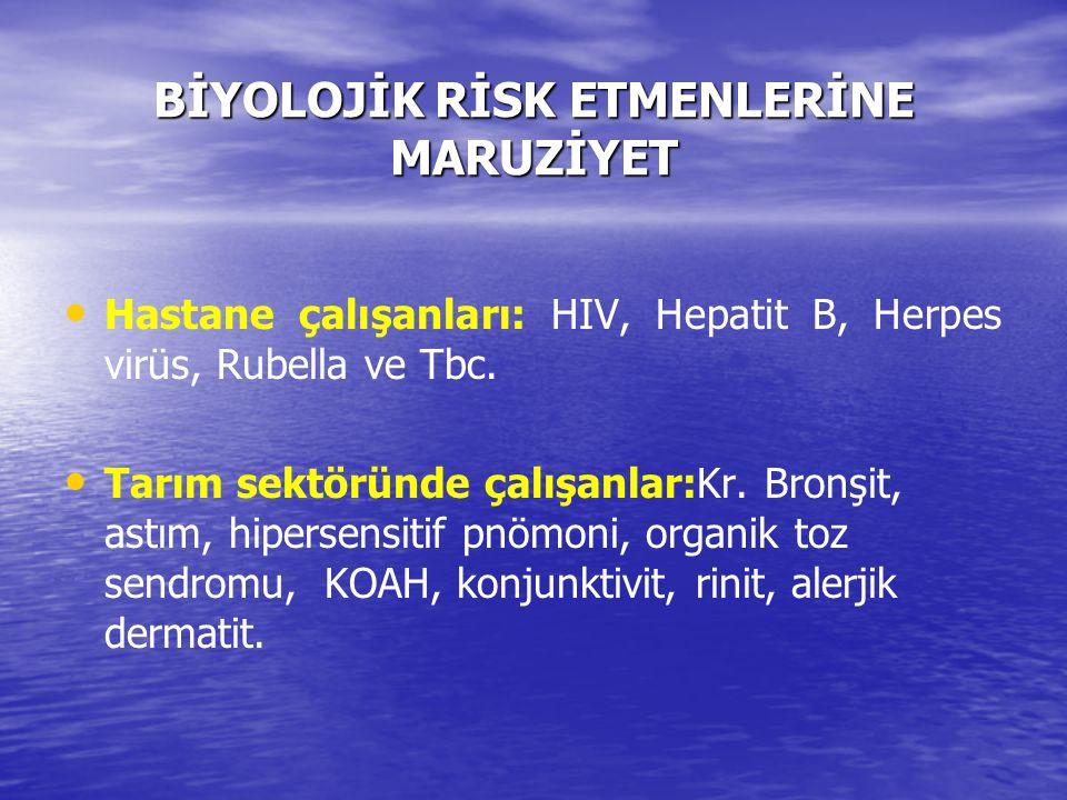 BİYOLOJİK RİSK ETMENLERİNE MARUZİYET Hastane çalışanları: HIV, Hepatit B, Herpes virüs, Rubella ve Tbc. Tarım sektöründe çalışanlar:Kr. Bronşit, astım