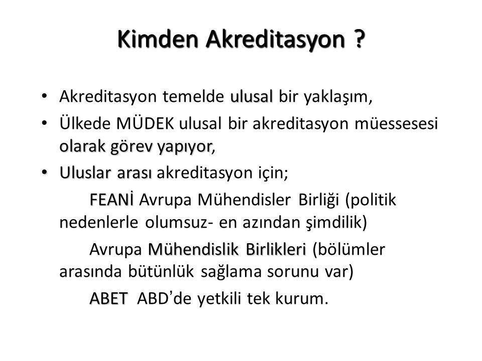 Türkiye'de Durum nedir.Mühendislik Programlarının Akreditasyonu için MÜDEK var… (Müh.