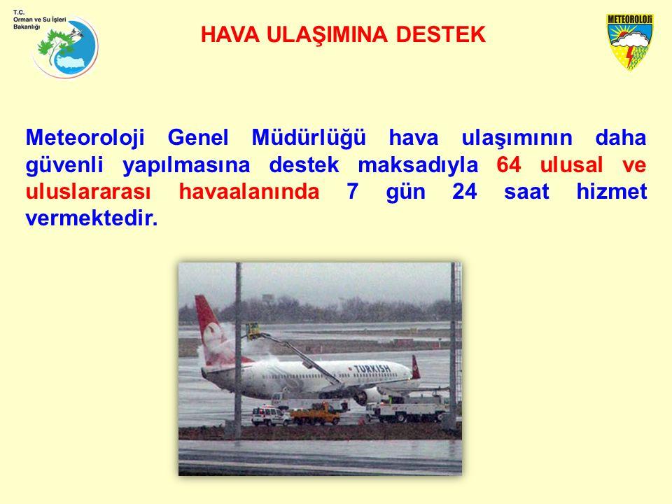 HAVA ULAŞIMINA DESTEK Meteoroloji Genel Müdürlüğü hava ulaşımının daha güvenli yapılmasına destek maksadıyla 64 ulusal ve uluslararası havaalanında 7 gün 24 saat hizmet vermektedir.