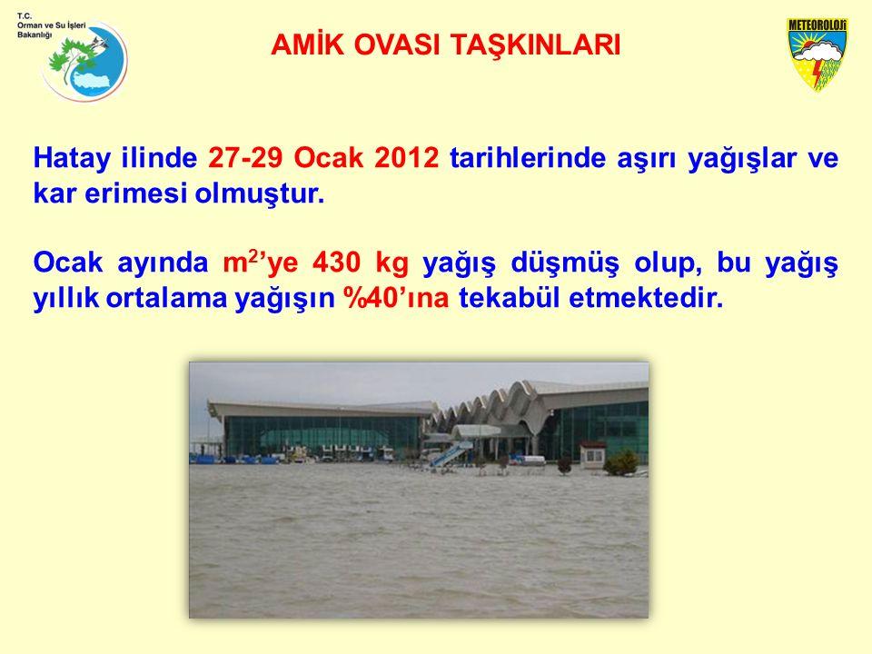 AMİK OVASI TAŞKINLARI Hatay ilinde 27-29 Ocak 2012 tarihlerinde aşırı yağışlar ve kar erimesi olmuştur.