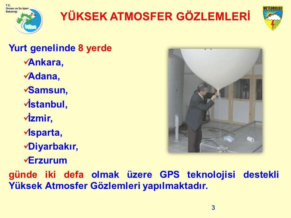 Yurt genelinde 8 yerde Ankara, Adana, Samsun, İstanbul, İzmir, Isparta, Diyarbakır, Erzurum günde iki defa olmak üzere GPS teknolojisi destekli Yüksek Atmosfer Gözlemleri yapılmaktadır.