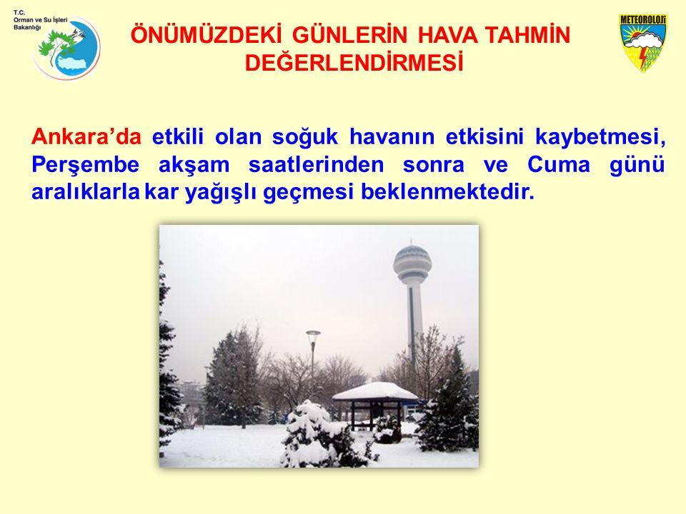 ÖNÜMÜZDEKİ GÜNLERİN HAVA TAHMİN DEĞERLENDİRMESİ Ankara'da etkili olan soğuk havanın etkisini kaybetmesi, Perşembe akşam saatlerinden sonra ve Cuma günü aralıklarla kar yağışlı geçmesi beklenmektedir.