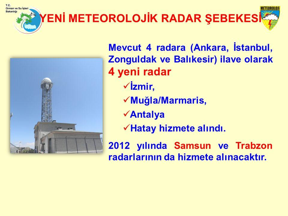 Mevcut 4 radara (Ankara, İstanbul, Zonguldak ve Balıkesir) ilave olarak 4 yeni radar İzmir, Muğla/Marmaris, Antalya Hatay hizmete alındı.