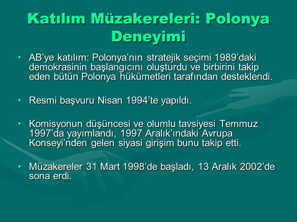 Katılım Müzakereleri: Polonya Deneyimi AB'ye katılım: Polonya'nın stratejik seçimi 1989'daki demokrasinin başlangıcını oluşturdu ve birbirini takip ed